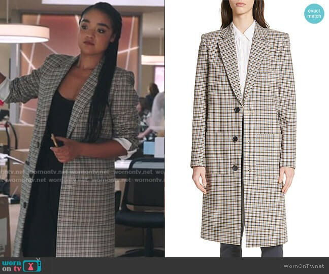 Zion Plaid Lab Coat by Tibi worn by Kat Edison (Aisha Dee) on The Bold Type