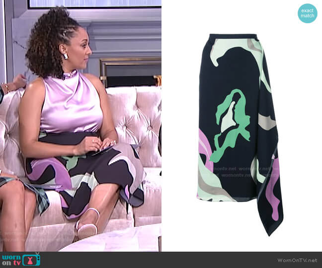 Ant Farm Print Asymmetric Skirt by Tibi worn by Tamera Mowry  on The Real