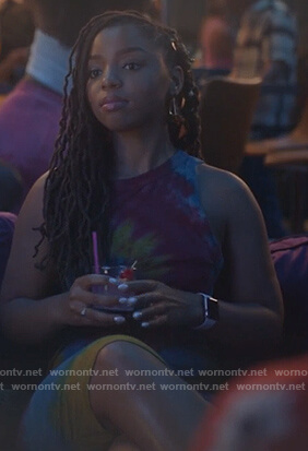 Zoey's tie dye sleeveless dress on Grown-ish