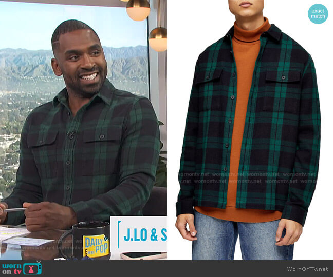 Plaid Button-Up Flannel Shirt Jacket by Topman worn by Justin Sylvester  on E! News
