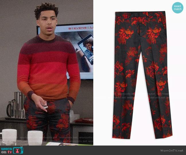 Topman Black Floral Print Slim Pants worn by Andre Johnson Jr (Marcus Scribner) on Blackish