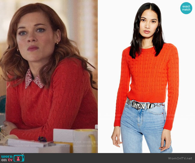 Topshop Cable Crop Jumper with Cashmere worn by Zoey Clarke (Jane Levy) on Zoeys Extraordinary Playlist