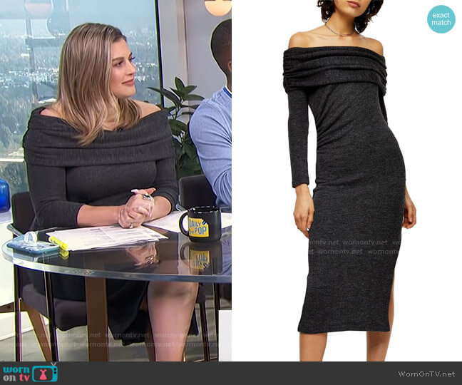 Off The Shoulder Midi Sweater Dress by Topshop worn by Carissa Loethen Culiner  on E! News