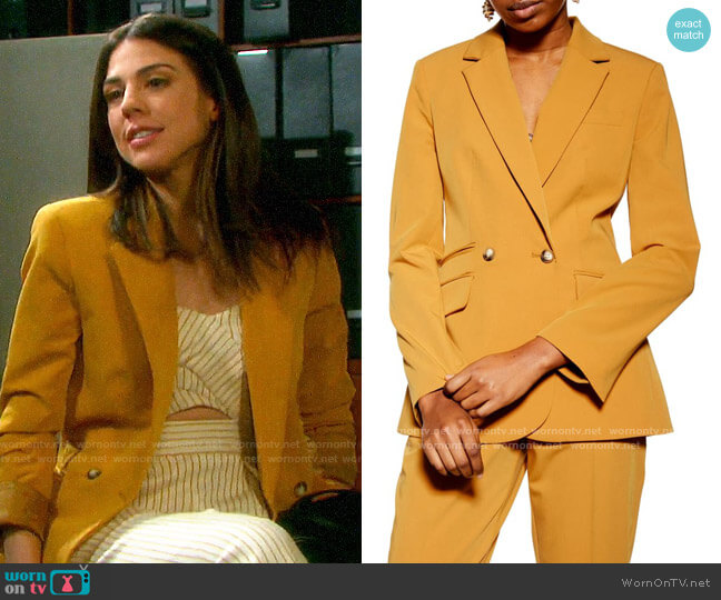 Topshop Mustard Double Breasted Blazer worn by Abigail Deveraux (Kate Mansi) on Days of our Lives