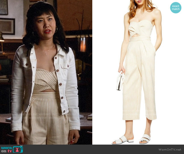 Topshop Twist Bandeau Jumpsuit worn by Mona Wu (Ramona Young) on Legends of Tomorrow