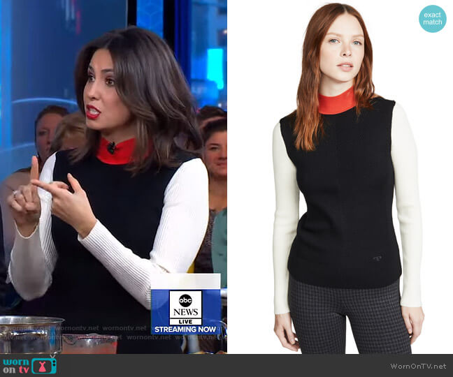 Colorblock Mockneck Sweater by Tory Burch worn by Cecilia Vega  on Good Morning America