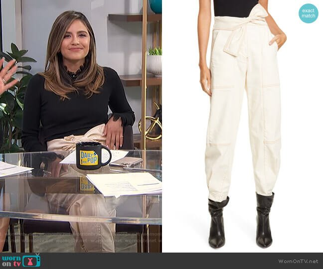 Storm Tie Waist Tapered Jeans by Ulla Johnson worn by Erin Lim  on E! News