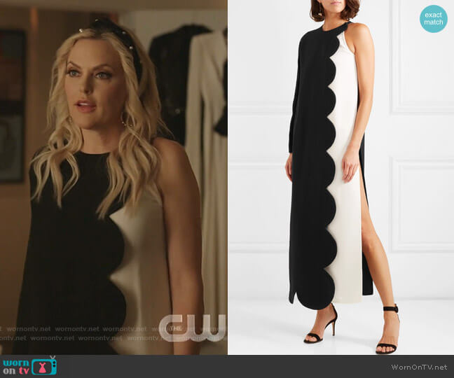 One-Shoulder Two-Tone Maxi Dress by Valentino worn by Alexis Carrington (Elaine Hendrix) on Dynasty