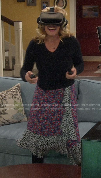 Vanessa's mixed floral print ruffled wrap skirt on Last Man Standing