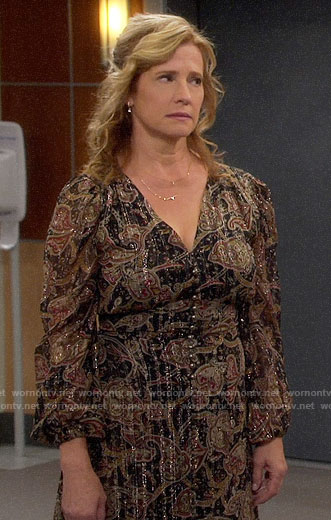 Vanessa's paisley button front midi dress on Last Man Standing
