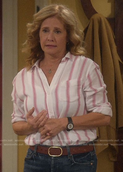 Vanessa's white shirt with red stripes on Last Man Standing