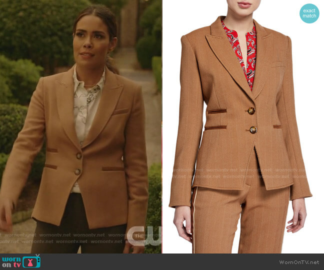 Hudson Herringbone Blazer by Veronica Beard worn by Cristal Jennings (Daniella Alonso) on Dynasty
