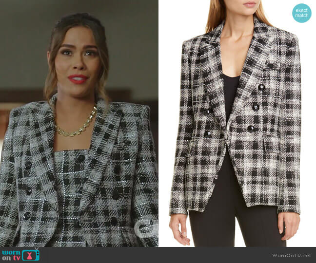 Sondra Double-Breasted Plaid Dress by Veronica Beard worn by Cristal Jennings (Daniella Alonso) on Dynasty