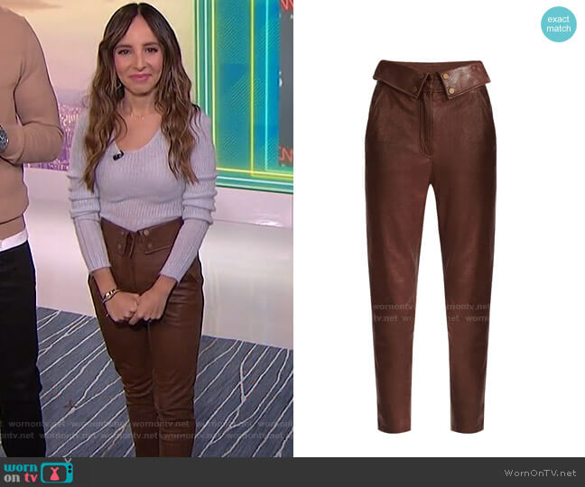 Minerva Leather Pants by Veronica Beard worn by Lilliana Vazquez  on E! News