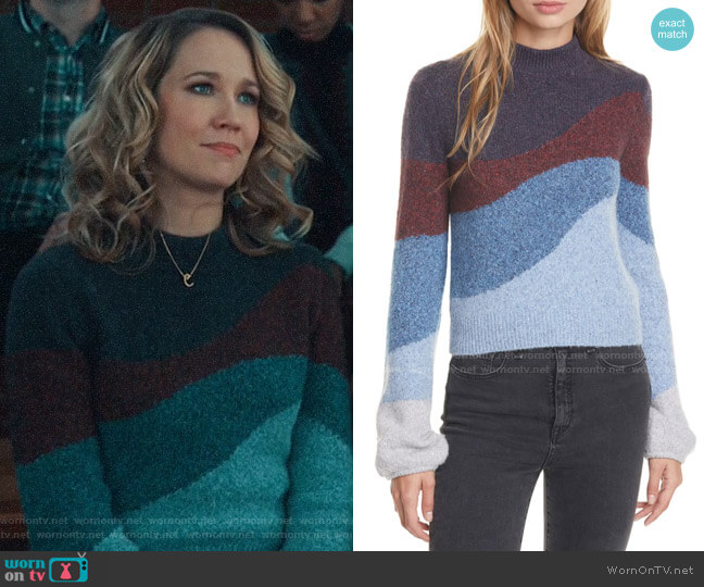 Veronica Beard Alexey Sweater worn by Ginny (Anna Camp) on Perfect Harmony