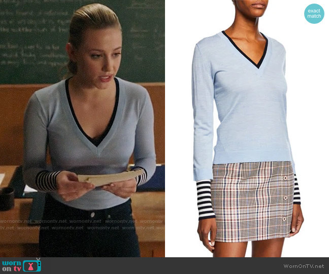 Veronica Beard Avory Sweater worn by Betty Cooper (Lili Reinhart) on Riverdale