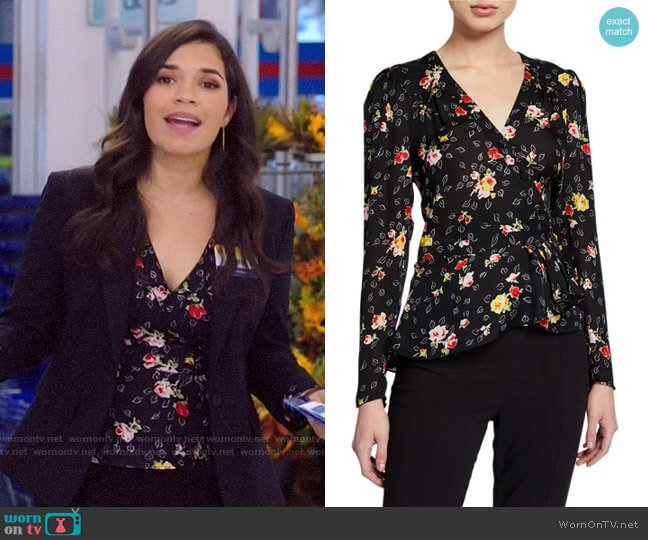 Veronica Beard Kiona Floral Top worn by Amy (America Ferrera) on Superstore