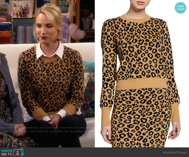 Veronica Beard Penny Leopard Sweater worn by Mandy Baxter (Molly McCook) on Last Man Standing