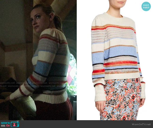 Veronica Beard Meredith Stripe Sweater worn by Betty Cooper (Lili Reinhart) on Riverdale