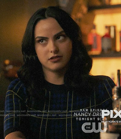 Veronica's blue plaid dress on Riverdale