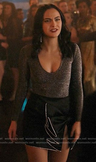 Veronica's metallic top and ruffled bow skirt on Riverdale