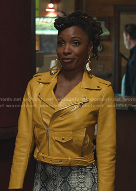 Veronica's yellow moto jacket on Shameless