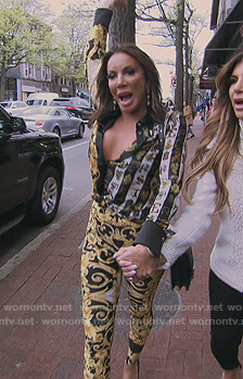 Danielle's floral blouse and pants on The Real Housewives of New Jersey