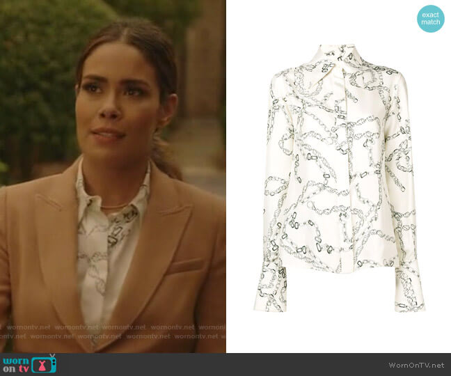70s Collar Shirt by Victoria Beckham worn by Cristal Jennings (Daniella Alonso) on Dynasty