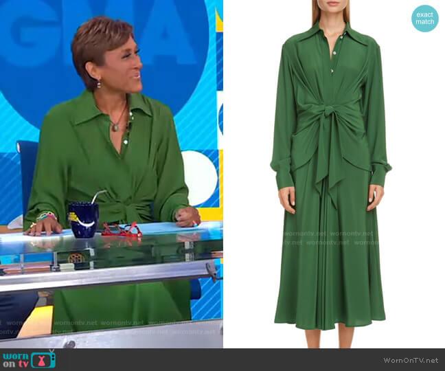 Tie Waist Long Sleeve Shirtdress by Victoria Beckham worn by Robin Roberts  on Good Morning America