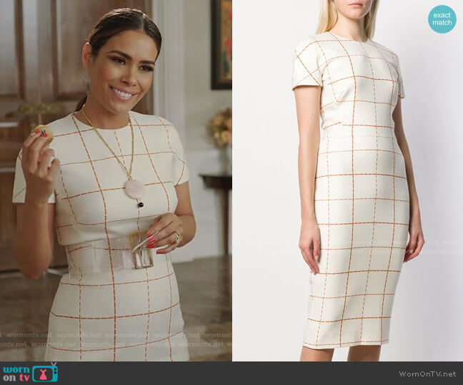 Checked Midi Dress by Victoria Beckham worn by Cristal Jennings (Daniella Alonso) on Dynasty