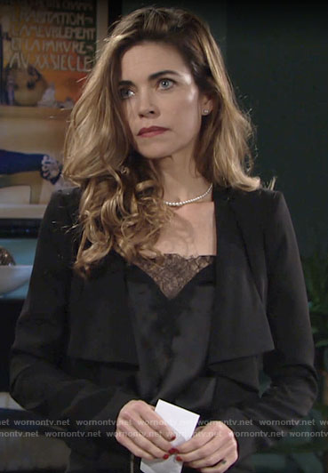 Victoria's black lace top on The Young and the Restless