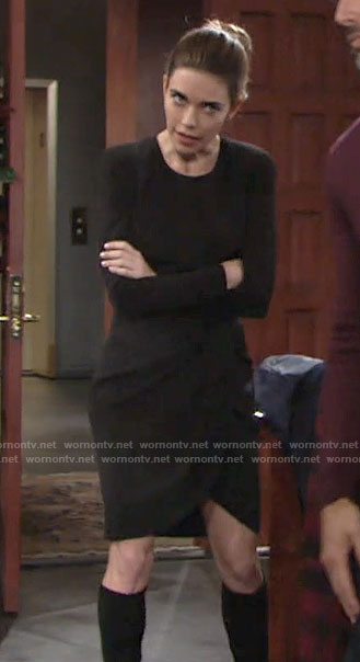 Victoria's black long sleeved dress on The Young and the Restless