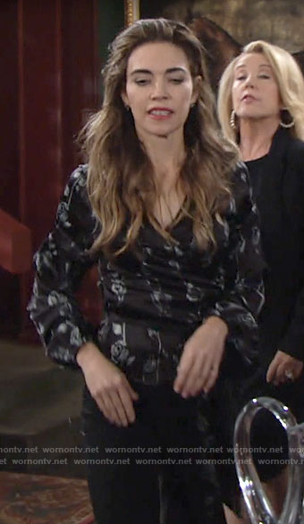Victoria's black rose print wrap blouse on The Young and the Restless