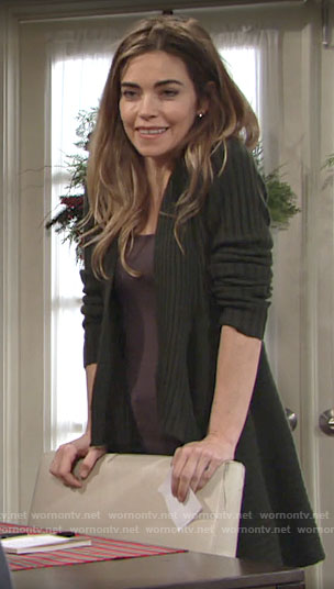 Victoria's green draped front cardigan on The Young and the Restless