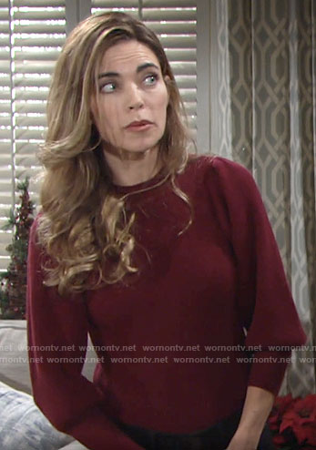 Victoria's red balloon sleeve sweater on The Young and the Restless
