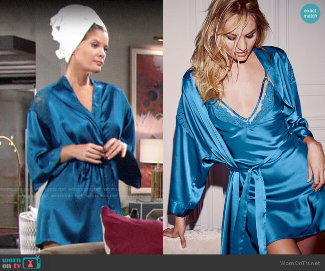 Victorias Secret Satin & Lace Kimono worn by Phyllis Summers (Michelle Stafford) on The Young & the Restless