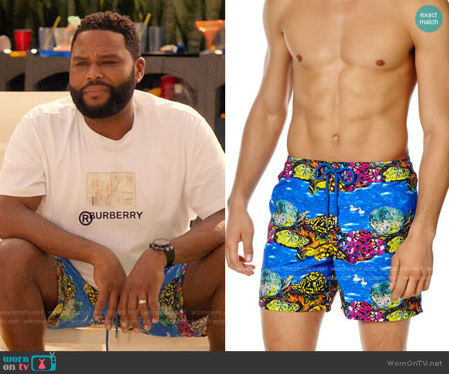 Vilebrequin Underwater Turtles Print Swim Trunks worn by Andre Johnson (Anthony Anderson) on Blackish