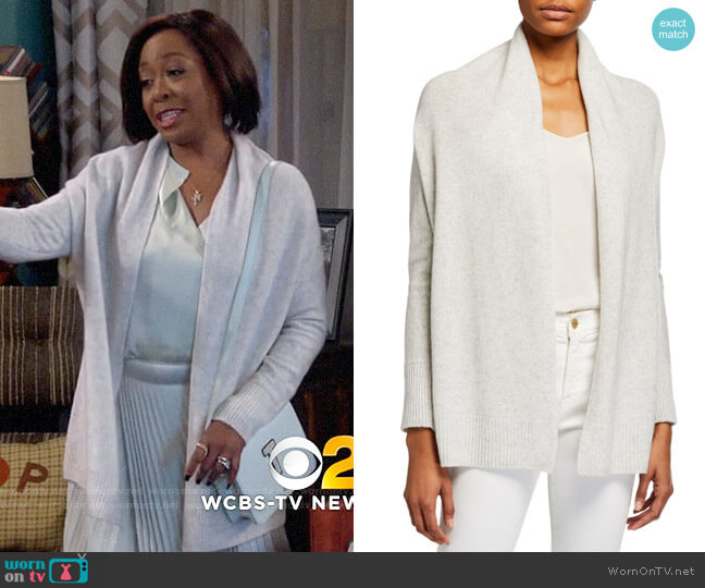 Vince Drape Front Wrapped Cardigan worn by Tina (Tichina Arnold) on The Neighborhood