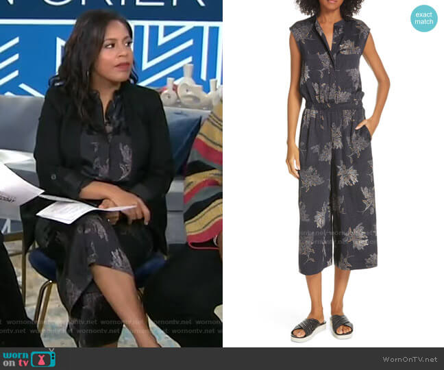 Woodblock Floral Sleeveless Jumpsuit by Vince worn by Sheinelle Jones  on Today