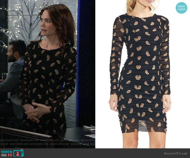 Vince Camuto Paisley Estate Mesh Body-Con Dress worn by Elizabeth Webber (Rebecca Herbst) on General Hospital