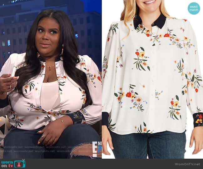 Surreal Garden Button Up Shirt by Vince Camuto worn by Nina Parker  on E! News