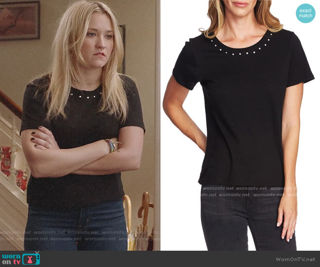 Vince Camuto Studded Crewneck Tee worn by Roxy Doyle (Emily Osment) on Almost Family