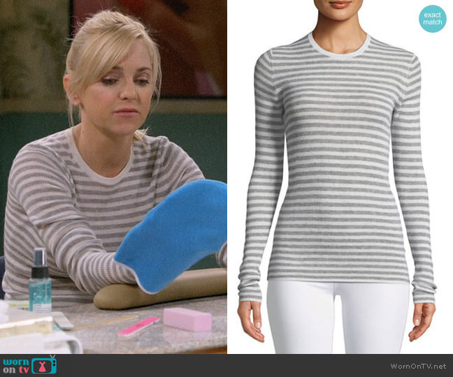 Vince Cashmere Striped Ribbed Long-Sleeve Tee worn by Christy Plunkett (Anna Faris) on Mom