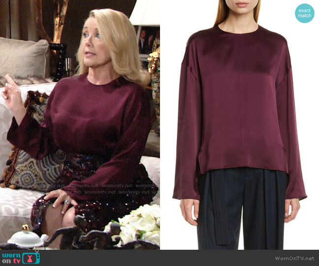 Vince Seamed Front Silk Blouse worn by Nikki Reed Newman (Melody Thomas-Scott) on The Young & the Restless