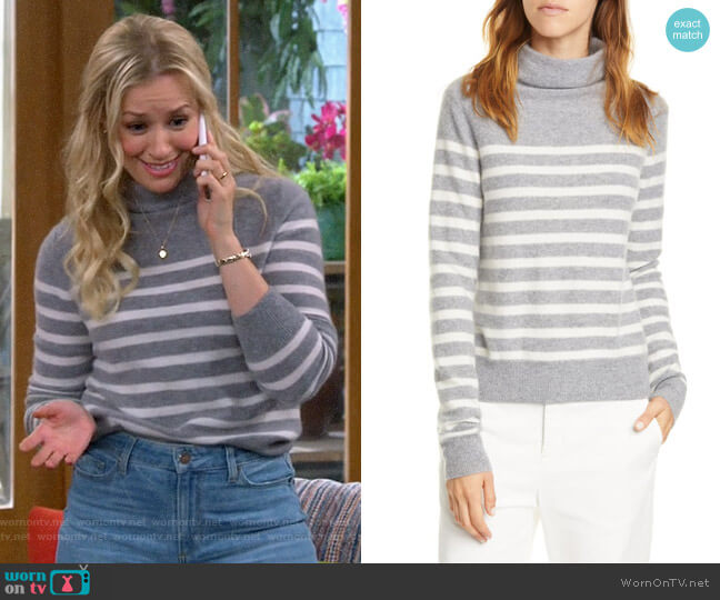 Vince Breton Stripe Turtleneck Cashmere Sweater worn by Gemma (Beth Behrs) on The Neighborhood