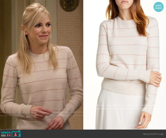 Vince Stripe Fitted Cashmere Crewneck Sweater worn by Christy Plunkett (Anna Faris) on Mom