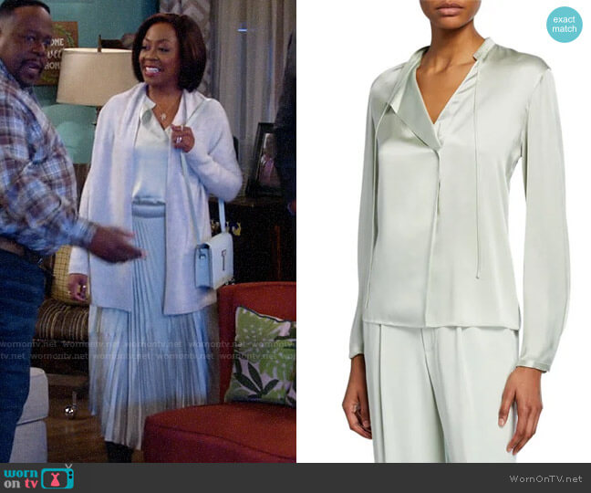 Vince Tie-Neck Satin Popover Top worn by Tina (Tichina Arnold) on The Neighborhood