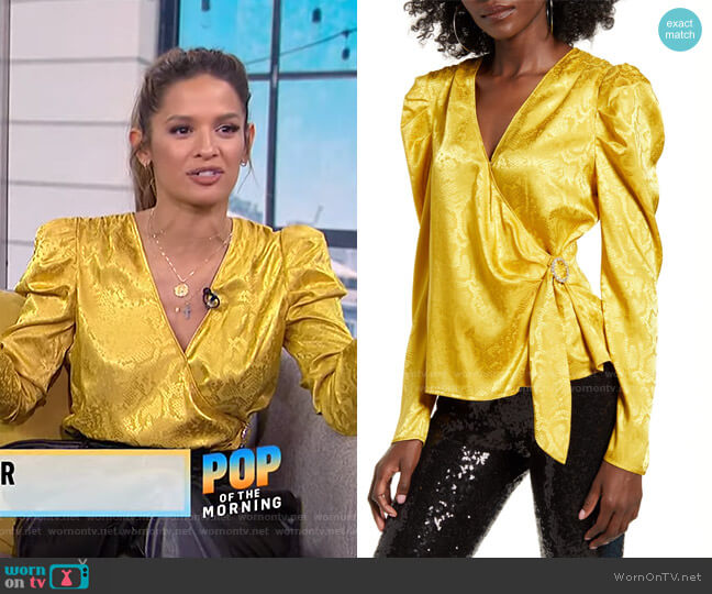 Gigi Puff Sleeve Wrap Top by WAYF worn by Rocsi Diaz on E! News