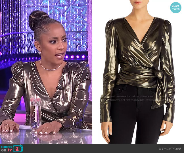 Lorraine Lamé Wrap Top by WAYF worn by Amanda Seales  on The Real