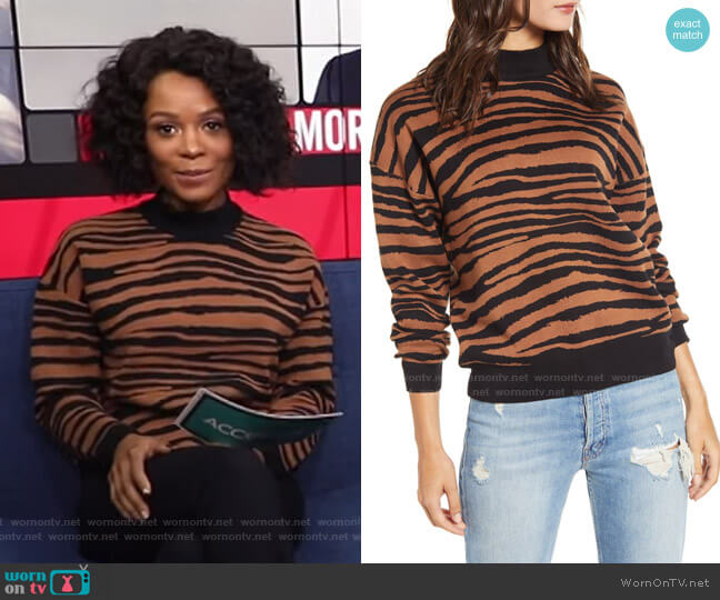 Vincent Tiger Print Mock Neck Sweater by WAYF worn by Zuri Hall  on Access Hollywood